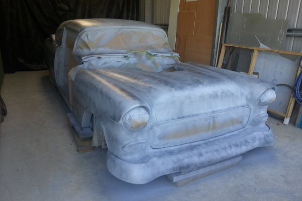 Craig Brown and Murray Smith 55 Chev body has been undercoated